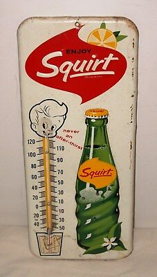"""1963 Squirt Single Sided Embossed Tin Thermometer - 13.5"""" x 5.75"""" -FULLY WORKING"""