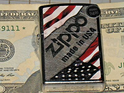 New Zippo Windproof oil Lighter 16691 Made in the USA Stars & Strips on corners