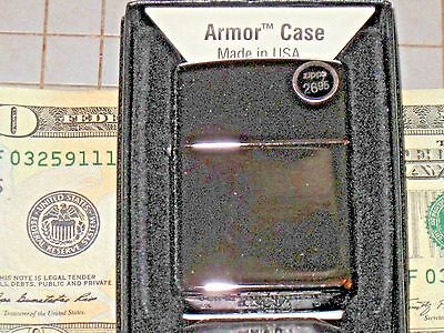 00155 New US Zippo Armor Plain High Polish Chrome Case Windproof USA oil Lighter