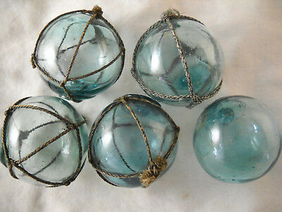 """5 Cutie Authentic Japanese 2-1/8"""" to 2.5"""" marked Glass Floats Alaska Combed"""