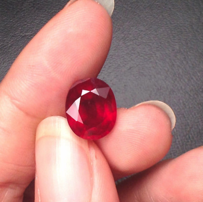 Unheated 8x10mm 4.02ct Red Natural Ruby Diamonds Cut Oval AAAAA VVS Loose Gems