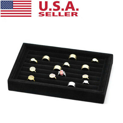USA Velvet Black Earrings Rings Jewelry Display Stand Holder Rack Organizer Tray