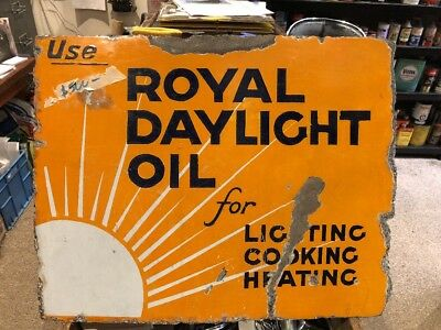 Royal Daylight Oil Genuine Enamel Double Sided Sign