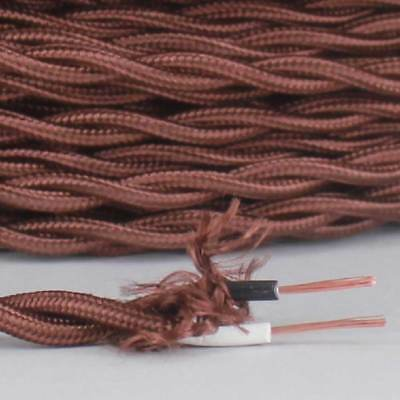 BROWN ~ Antique Look TWISTED Cloth Covered Fabric Lamp Wire ~ Price Per Foot