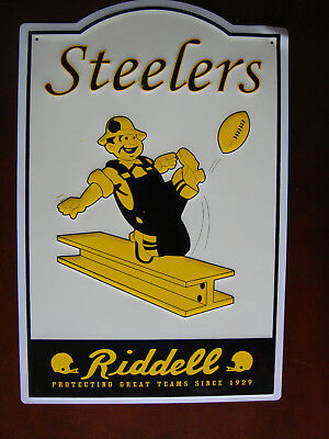 Pittsburgh Steelers Metal Sign Wallhanging, Retro Vintage Look, 11 1/2 x 17 1/2