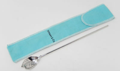 TIFFANY & Co. Sterling Silver Mint Julep Leaf Cocktail Spoon Straw Stirrer