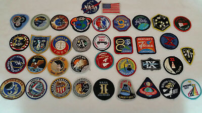 Vintage Collection  Of 36 Apollo, Gemini, Mercury And Skylab Cloth Patches