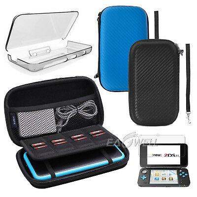 AU For Nintendo 2DS XL LL EVA Case Bag /Screen Protector Film/Clear Cover Kits