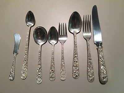 STERLING Kirk Repousee' 8 PC PLACE SETTING - EXCELLENT