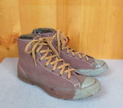 Vintage 1940s Brown Canvas Basketball Sneakers Military Athletic Shoes Sz.5 Nice