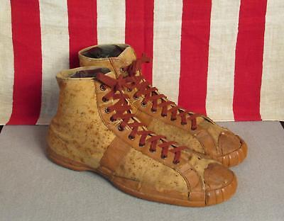 Vintage 1930s Ball Band High Top Basketball Sneakers 8 Great Display Shoes Rare