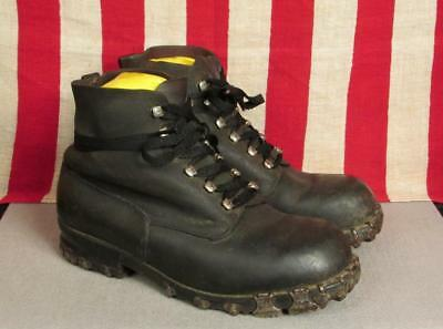 Vintage 1960s Bally Black Leather Alpine Swiss Ice Boots Hiking Trekking 11.5""