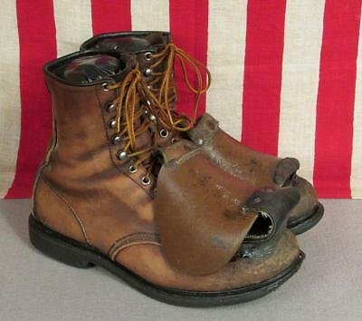 Vintage 1930s Red Wing Leather Miners Boots Work Wear Safety Top Guard Sz.11