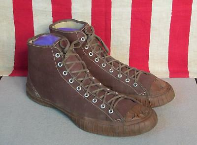 Vintage 1940s Brown Canvas Basketball Sneakers High-Top Athletic Shoes Size 10.5