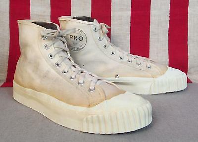 Vintage 1950s Pro Basketball Canvas High-Top Sneakers Athletic Shoes Sz.7 Nice