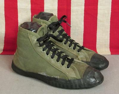 Vintage 1940s Military OD Green Canvas Gym Sneakers WWII Athletic Shoes Sz.9