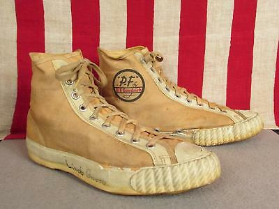 Vintage 1940s PF Flyers White Canvas Basketball Sneakers BF Goodrich Size 7.5