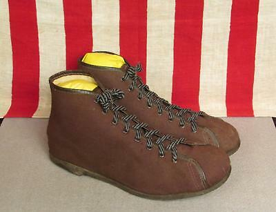 Vintage 1930s Basketball Sneakers Athletic Shoes Brown Canvas Size 8.5 New Rare