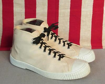 Vintage 1960s Dash White Canvas Hi-Top Basketball Sneakers Sz.11 NOS Shoes Nice
