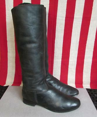 "Vintage 1960s Leather Western Riding Boots Tall Equestrian Motorcycle 11"" Length"