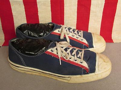 Vintage 1960s Canvas Basketball Sneakers Low Top Red/White/&Blue Sz.12 Chucks