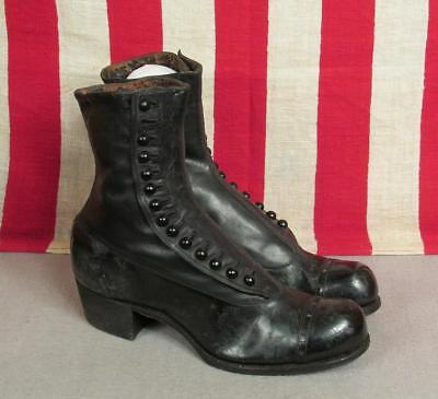 Vintage Womens Victorian Black Leather Boots Spats Antique Size 3.5 early 1900s