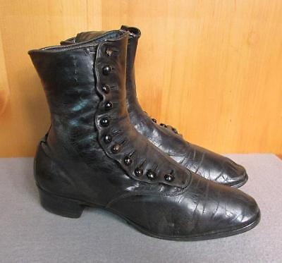 """Vintage Antique Black Leather Boots Spats Victorian 9 1/2"""" Length early 1900's"""