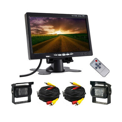 """2x Wired Rear View Backup Camera System + 7"""" Monitor For Truck RV Car Bus 12-24V"""