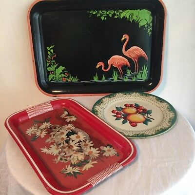Vintage Trays, Flamingo, Daisies And Fruit, Assortment of 3, Metal