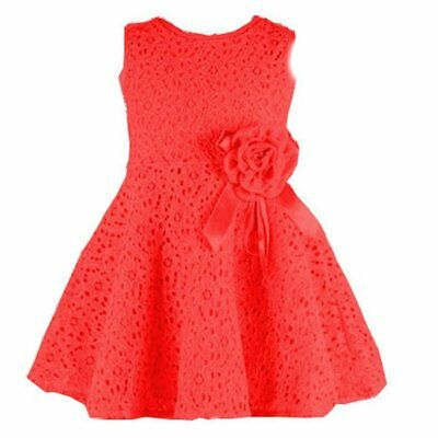 Baby Girls Kids Full Lace Floral One Piece Dress Child Princess Party Dress AU