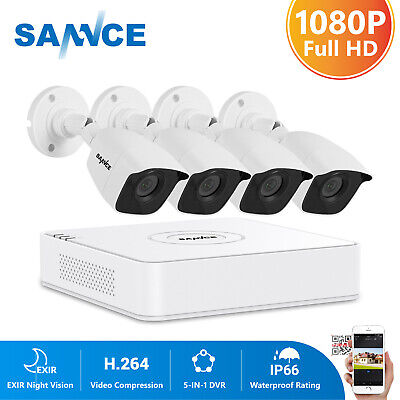 SANNCE 5in1 8CH 1080N DVR 1500TVL Outdoor Security Camera System IR Night Vision