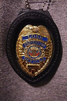 loss prevention badge with leather law enforcement chain holder.