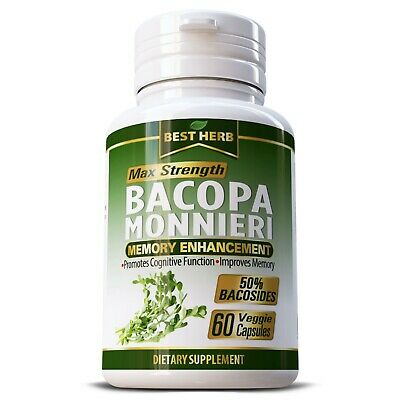 Brain Supplement Memory Bacopa Monnieri Extract Brahmi Adhd Anxiety Pill Capsule