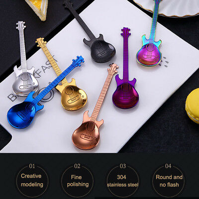 Stainless Steel Rainbow Guitar Shape Coffee Mixing Spoon Flatware Tea Soup Spoon