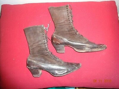 Antique 1800's ladies pair of brown boots leather Sorosi Lace up RARE!