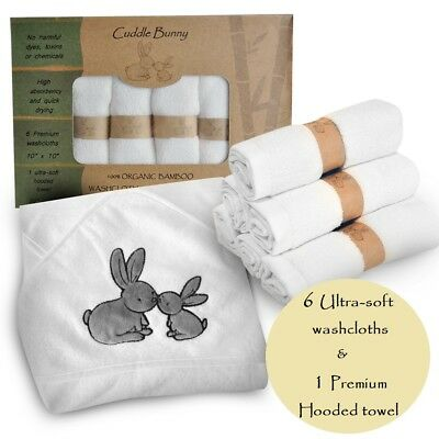 Organic Bamboo Baby Hooded Towel and Washcloth Gift Set by Cuddle Bunny Organics