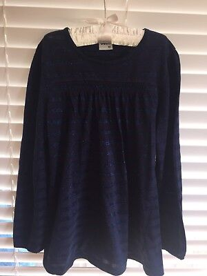Girls Navy Glitter Top By Ouch Size 10