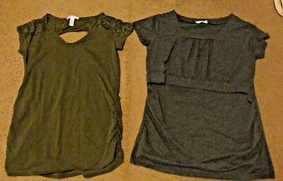 Women Maternity OLIVE KEYHOLE LACE  / GREY DOUBLE LAYER NURSING LOT  SZ MEDIUM