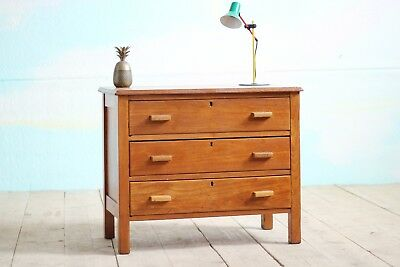 Vintage Retro Mid-Century Blonde Solid Oak Small Chest of Drawers Storage