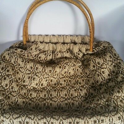 Vintage carpet bag with wooden handles wool tapestry fabric 40cn x 35cm