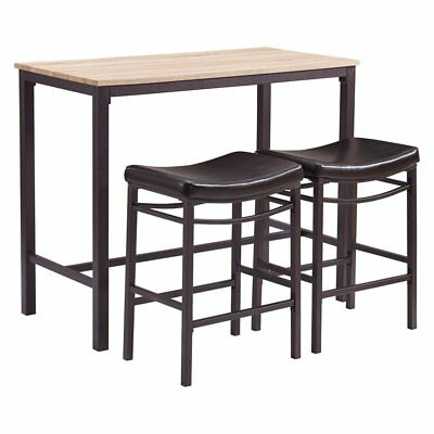 Linon Home Betty 3 Piece Pub Table Set, Brown Metal, 19.29W x 13.39D x 25.59H in