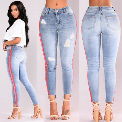 Women High Waist Skinny Pants Ripped Knee Jeans Stretch Celeb Leggings Size 6-18