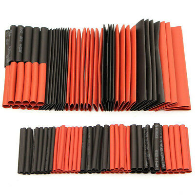 127Pcs Black & Red Heat Shrink Tubing Kit Set Wire Electrical Sleeving Wrap 2:1