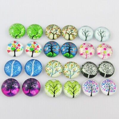 Glass Dome Tree of Life Cabochon 12mm Select 10 or 20 pieces in random pairs