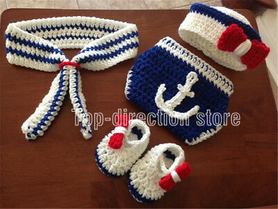 21c3b11a36d Newborn Baby Boys Sailor Hat Crochet Knit Costume Photo Photography Prop  Outfit