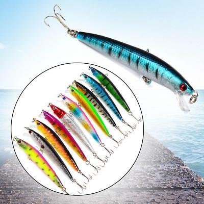 1x Fishing Lures Crankbaits Hooks Minnow Bass Baits Tackle Multi-colored 10cm!