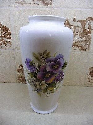 Melba Ware Staffordshire, White Vase, with Purple Pansies