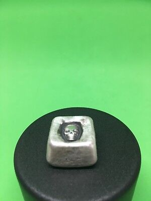 1 Oz Square With Skull - Hand Poured 999 Pure Silver Bullion
