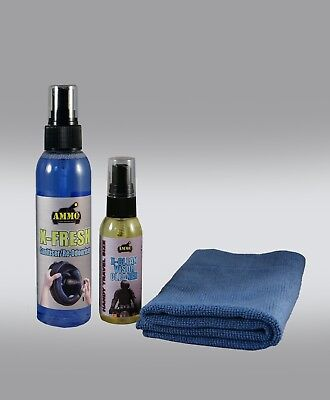 Ammo X-Fresh Helmet Sanitiser/re-Odouriser + Super Handy Visor Cleaner + Cloth