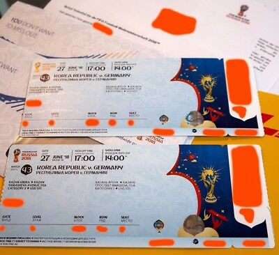 2x Tickets FIFA WM - Korea Republic vs. Germany - World Cup Russia 2018